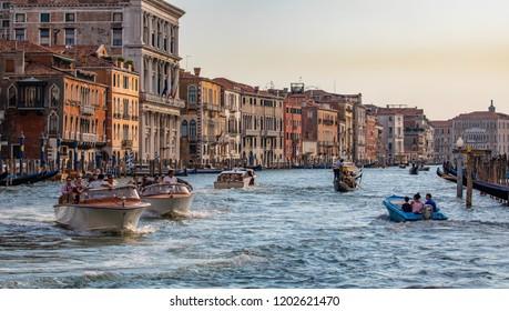 Venice, Veneto, Italy, 5.8.2018, high traffic on Grand canal in Venice, Venezia