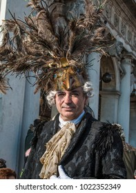 Venice, Veneto /Italy - February 3 2018: Beautiful venetian costumed participants at St. Mark's Square