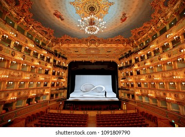 "VENICE, VENETO, ITALY- March 17, 2016.Inside Gran Teatro La Fenice, Sestiere di San Marco (""St. Mark district"")."