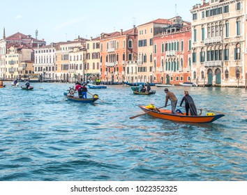 Venice, Veneto /Italy-January 28 2018: Venetian gondolas on the Grand Canal during carnival