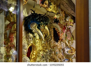 Venice, Veneto Region, Italy. August 2018. Shop of Venetian masks, compared to the stalls, quality and beauty is at the top.