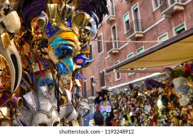 Venice, Veneto Region, Italy. August 2018. Stall of Venetian masks, compared to traditional shops there are some off-topic masks and more affordable prices.