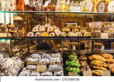 Venice, Veneto region, Italy - September 01, 2019: Confectionery showcase with traditional Italian sweets