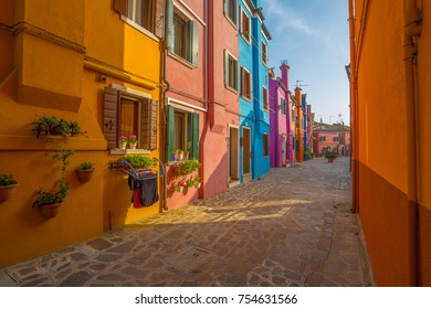 VENICE (VENEZIA) ITALY, OCTOBER 17, 2017 - View of Burano island, a small island inside Venice (Venezia) area, Italy, famous for lace making and its colorful house.