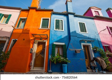 VENICE (VENEZIA) ITALY, OCTOBER 17, 2017 - View of Burano island, a small island inside Venice area, famous for lace making and its colorful houses