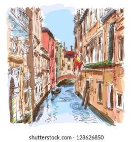 Venice - water canal, old buildings & gondola away. Bitmap copy my vector