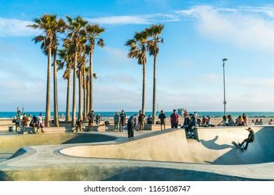 venice,california,usa. 05-23-17:  skate park  in Venice beach on a sunny day.