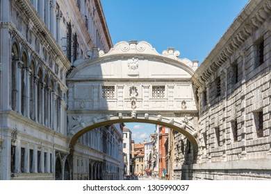 Venice,Italy -August 17,2014:classic view of the bridge of sighs in Venice during a sunny day