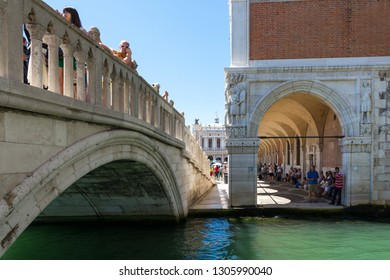 Venice,Italy -August 17,2014:Tourists visiting Venice during a sunny day.