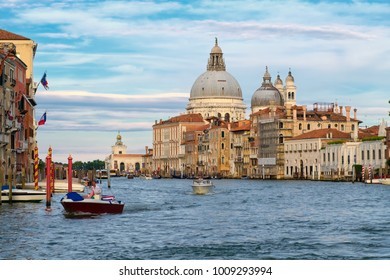 VENICE,ITALY - JULY 27,2017 : The Grand Canal and the Basilica di Santa Maria della Salute in Venice
