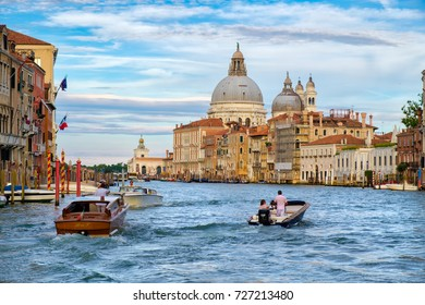 VENICE,ITALY - JULY 27,2017 : The Grand Canal in Venice at sunset