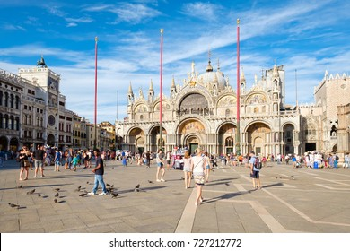 VENICE,ITALY - JULY 27,2017 : St Mark's Square in Venice on a sunny summer day