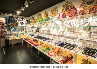 VENICE,ITALY- JUNE 19, 2018: Interior of famous glassware and crystal gift shop