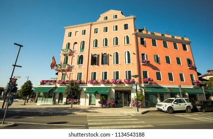 VENICE,ITALY- JUNE 19, 2018: The street and hotel building in summer in Lido area