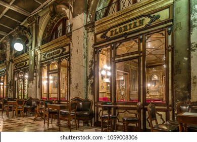 Venice,Italy on 25th Mar 2018:Cafe Florian is a coffee house located on Piazza San Marco in Venice. It is a major tourist attraction due to its central location and the traditional Italian style
