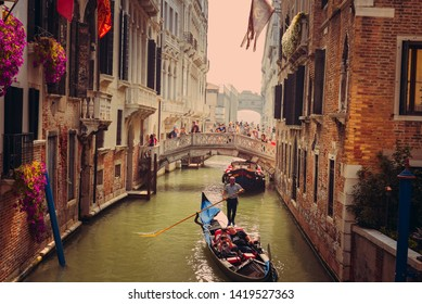 """Venice,Italy-09,10,2018: Venetian gondola, bridges and architecture"""