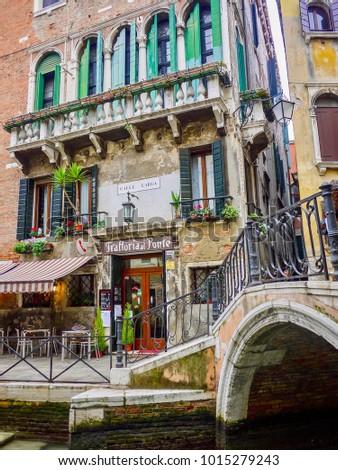 Venice Italy Dec 23 Th 2013 Small Italian Restaurant Stock Photo