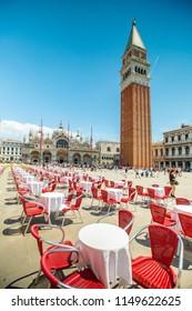 VENICE,ITALY-June 17,2018:Venice italy travel traditional landmark with restaurants seat for customer dinner.