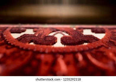 VENICE-ITALY-OCTOBER 18, 2018: close up of luxury textiles looming, at the traditional Bevilacqua weavers workshop, in Venice.