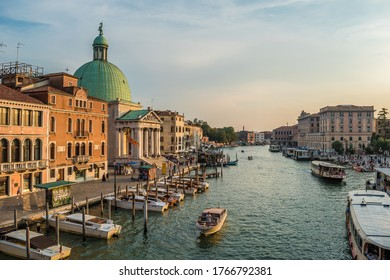 Venice/Veneto/Italy - 08 23 2018: The majestic Church of San Simeon Piccolo on the banks of the Grand Canal