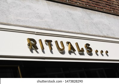 VENLO, NETHERLANDS - AUGUST 8. 2019: Close up of sign of Rituals cosmetic store