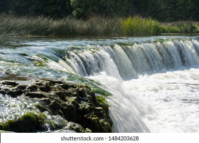 Venta Rapid is a waterfall on the Venta River in Kuldīga, Latvia. It is the widest waterfall in Europe – 249 metres and up to 270 metres during spring floods.