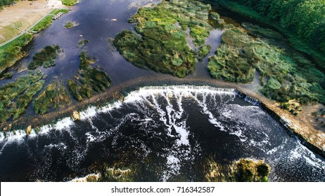 Venta Rapid waterfall, the widest waterfall in Europe, Kuldiga, Latvia. Captured from above.
