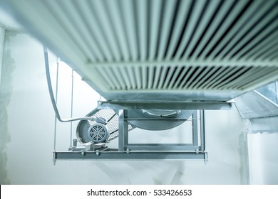ventilating fan motor of air duck in white grey colour defocus perspective view
