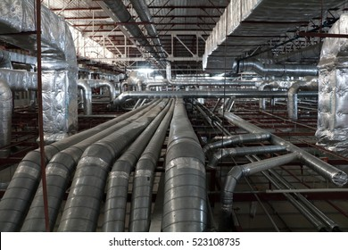 Ventilation Exhaust Duct In The Ceiling Of The Factory
