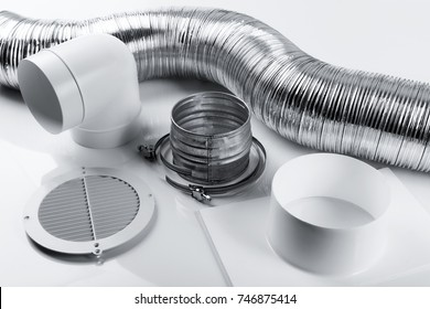 ventilation system items and joints on white background