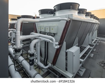 Ventilation system on the roof of the building.