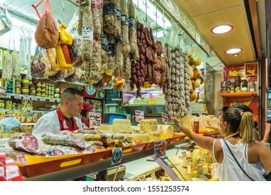 Ventimiglia Italy. June 14 2019. A view of a deli counter at the famous friday market in Ventimiglia in Italy