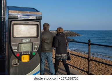Ventor, Isle of Wight, UK - April 2019: Parking meter near beach