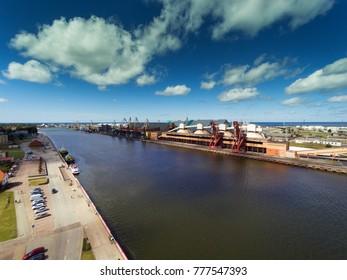 Ventspils city and port, Latvia.