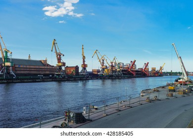 Ventspils, Latvia - May 8, 2016: Lifting cranes at the Marina in Ventspils in Latvia. Ventspils a city in the Courland region of Latvia. Latvia is one of the Baltic countries