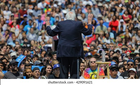 VENTURA, CA - MAY 26, 2016: Democratic presidential candidate, Sen. Bernie Sanders (D-VT) speaks at a campaign rally at Ventura College, in preparation for June 7 California Primary Election.