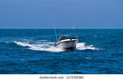 Ventura, CA, USA - 9th September 2012: Motorboat at Ventura, California, USA
