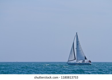 Ventura, CA, USA - 9th September 2012: Sailing yacht on the Pacific Ocean at Ventura, California, USA