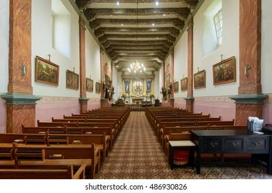 VENTURA, CALIFORNIA - AUGUST 1: Interior of the church at Mission San Buenaventura on Main Street on August 1, 2016 in Ventura, California
