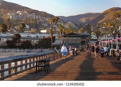 Ventura, California / United States - June 24 2012: People visiting Ventura Pier at sunset