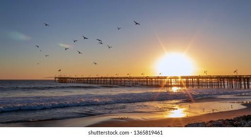 Ventura, California / United States - October 18, 2018: Ventura Pier at Sunset