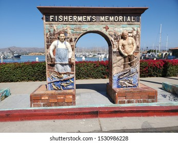 Ventura, California / USA -  October 4, 2019: Fishermen's Memorial located at 1583 Spinnaker Dr, Ventura Harbor Village, built in honor of Ventura and Channel Island fishermen lost at sea.