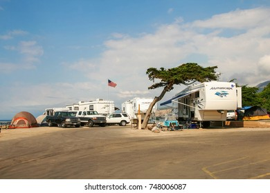 VENTURA COUNTY, CALIFORNIA, UNITED STATES - OCTOBER 06, 2006. RVs parked on the beachfront in Faria Beach National Park.