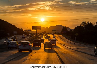 VENTURA FREEWAY, SHERMAN OAKS - SEPTEMBER 11: Views of the traffic on the Ventura Freeway at sunset on September 11, 2015. The Ventura Freeway is a part of the Route 101, the longest in California.