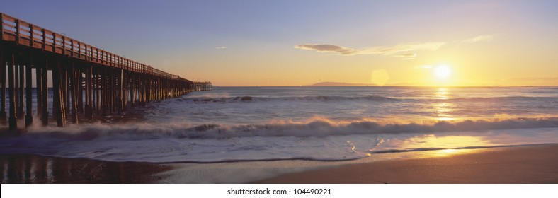 Ventura pier at sunset, California