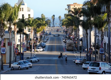 VENTURA, UNITED STATES - JUNE 26, 2012: View of Ventura downtown.  Ventura's compact, walkable Downtown offers easy access to countless places to eat.