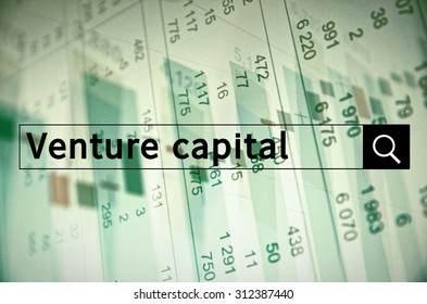 Venture capital written in search bar with the financial data visible in the background. Multiple exposure photo.