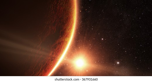 Venus. Cinematic and very realistic sunrise seen from space on venus Elements of this image furnished by NASA