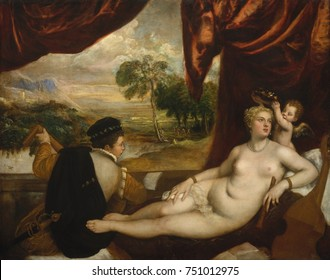 VENUS AND THE LUTE PLAYER, by Titian, 1565_70, Italian Renaissance painting, oil on canvas. A nude reclining Venus stops listening to music to be crowned by Cupid. The meaning of this work may relate