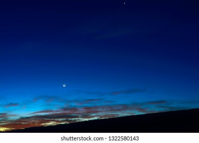 Venus and Moon with earth shine, Webster County, West Virginia, USA